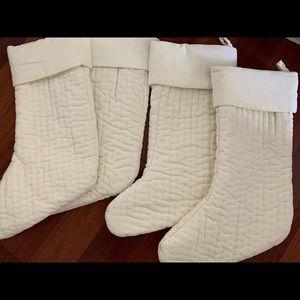 Set of 4 Pottery Barn Velvet Stockings